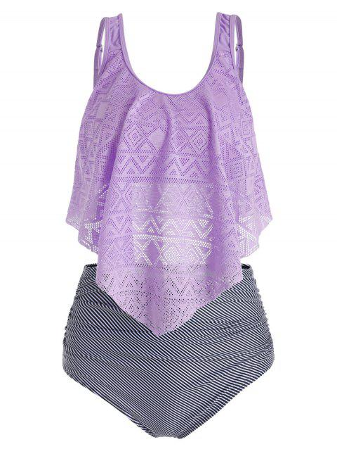 Perforated Flounce Ruched Floral Striped Tankini Swimsuit - PURPLE MIMOSA XL