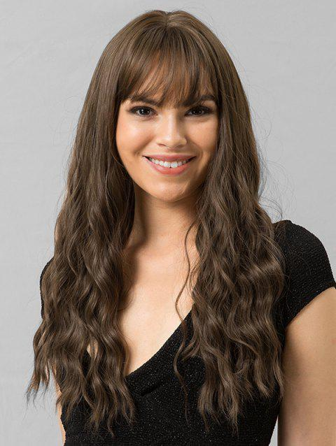 Long Wavy See-through Bang Synthetic Wig - BROWN