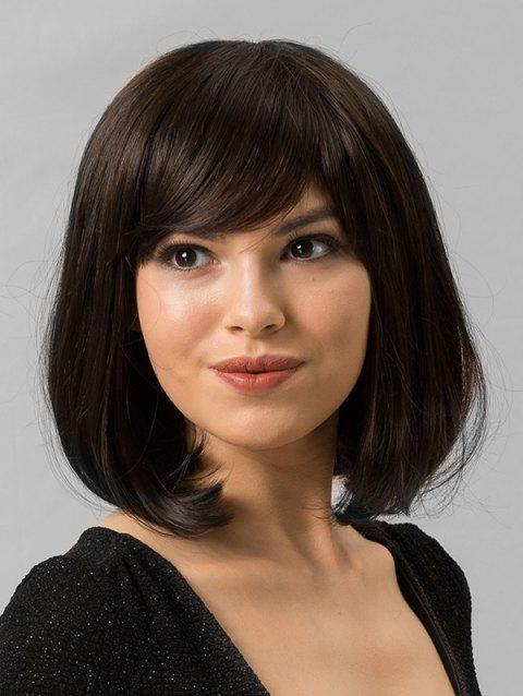 Human Hair Medium Side Bang Bob Straight Wig - BROWN