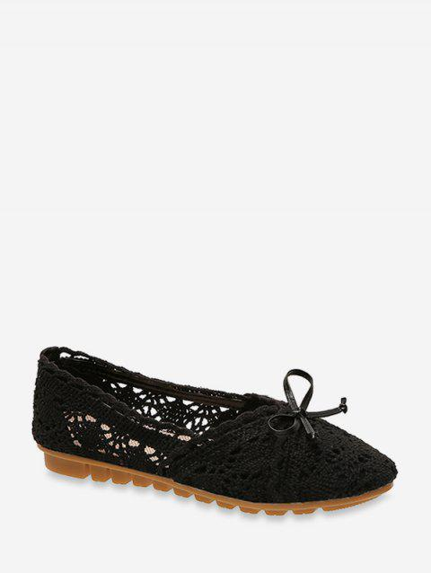 Hollow Bowknot Knitted Flat Shoes - BLACK EU 36