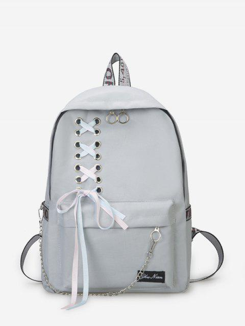 Canvas Lace-up Bowknot Backpack - BLUE GRAY