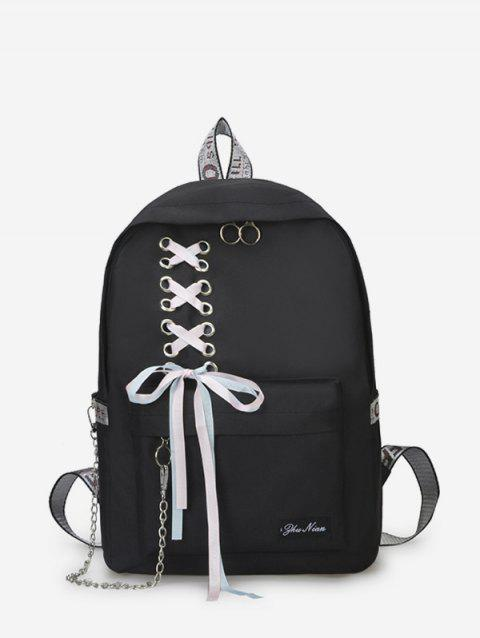 Canvas Lace-up Bowknot Backpack - BLACK