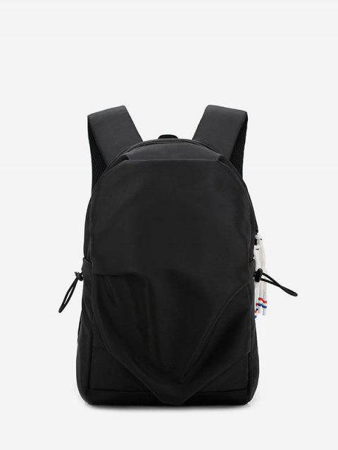 Student Nylon Solid Water-proof Backpack - BLACK