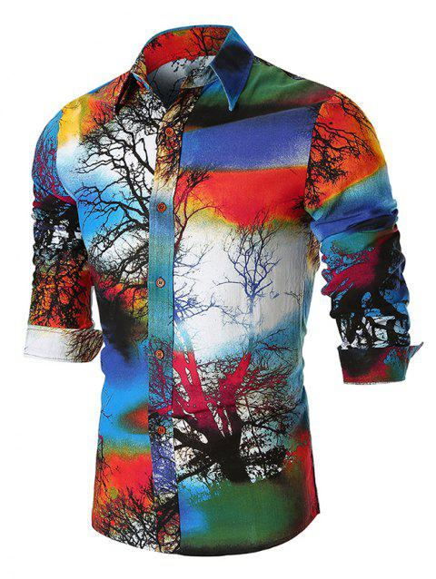 Colorful Forest Scenery Painting Print Long Sleeves Shirt - BLUE XL