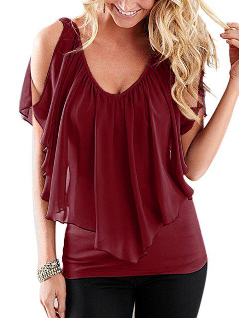 Chiffon Flounce Overlay Cold Shoulder Top - RED WINE 2XL