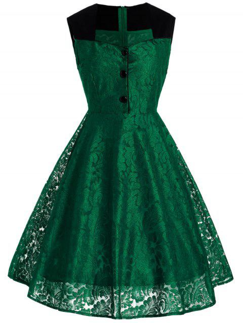 Lace Sweetheart Button Embellished Dress - JUNGLE GREEN L