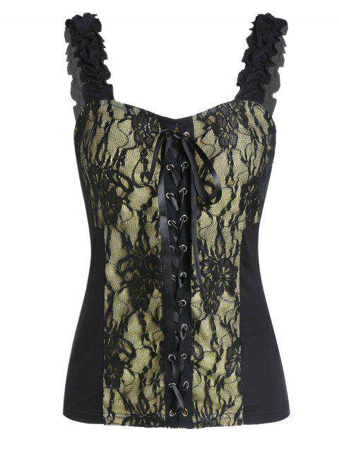 Lace Up Frilled Backless Lace Backless Tank Top - BLACK 2XL