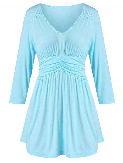 Waisted V Neck Ruched A Line Tunic Tee - BLUE 2XL