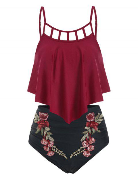 Flower Applique Ladder Cut Flounce Tankini Swimsuit - RED WINE M