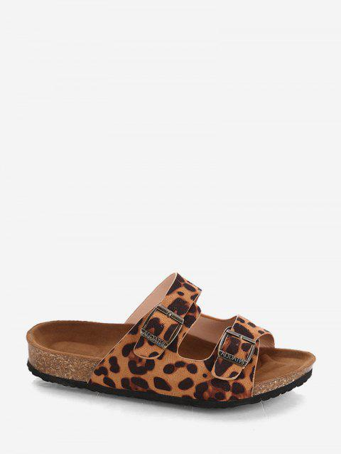 Two Buckle Straps Leopard Slides Sandals - BROWN EU 38