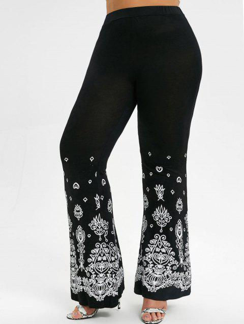 Printed High Waisted Plus Size Bell Bottom Pants - BLACK 3X