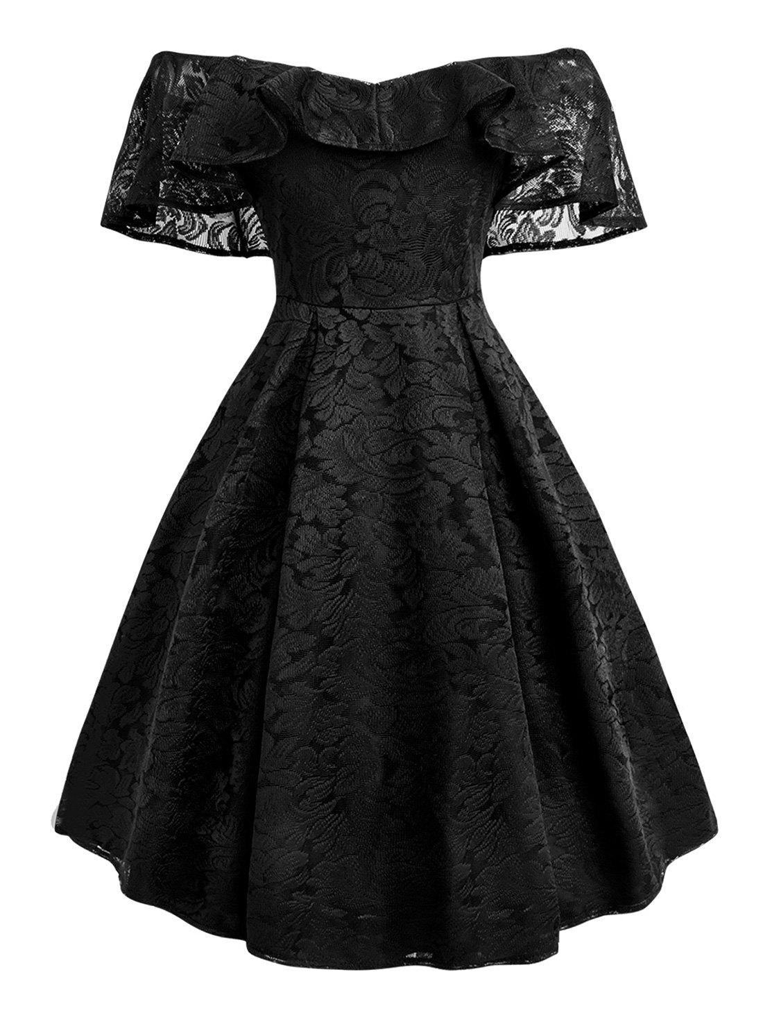Plus Size Ruffled Off The Shoulder Lace Dress - BLACK 2X