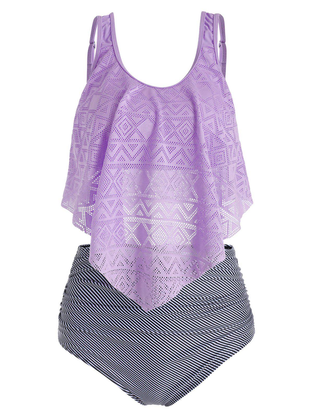 Perforated Flounce Ruched Floral Striped Tankini Swimsuit - PURPLE MIMOSA M
