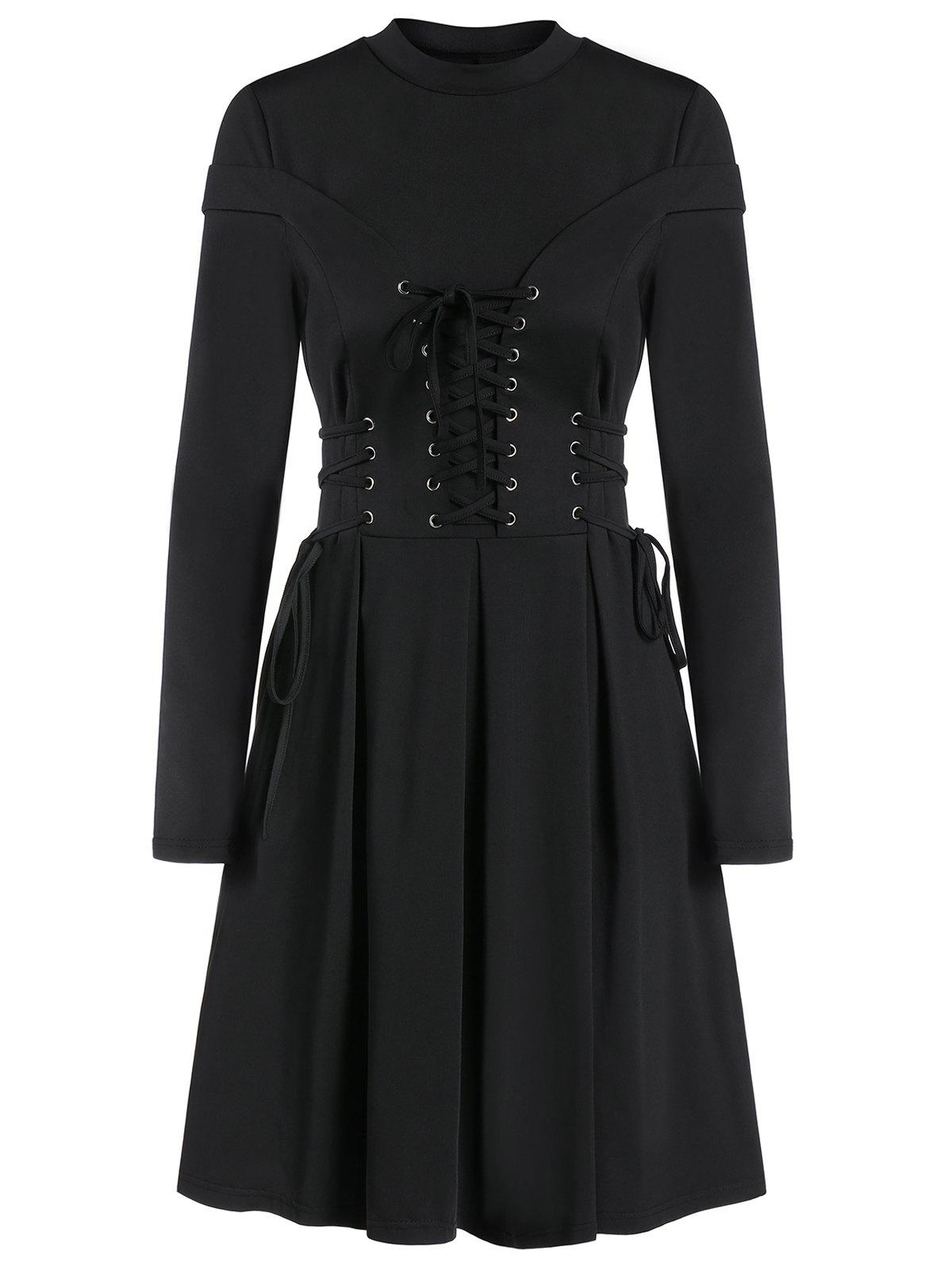 Long Sleeve Lace-up Casual Pleated Gothic Dress - BLACK L