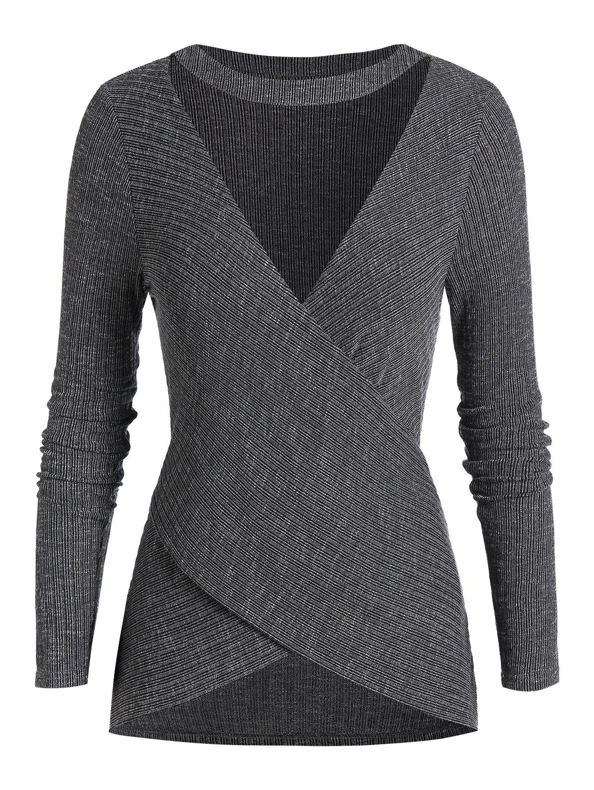 Plus Size Choker Cut Out Crossover Long Sleeve Knitwear - DARK SLATE GREY 5X