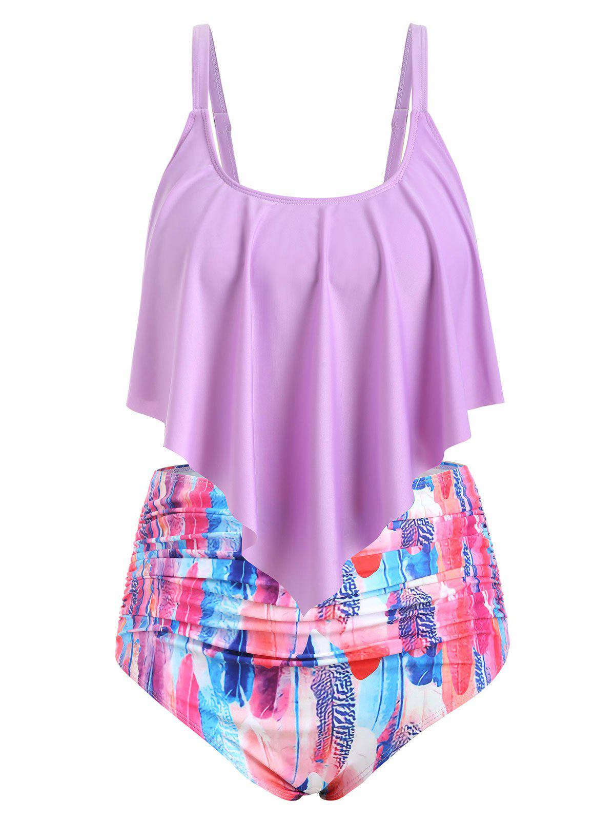 Plus Size Splatter Paint Overlay Ruched Tankini Swimsuit - multicolor F 3X