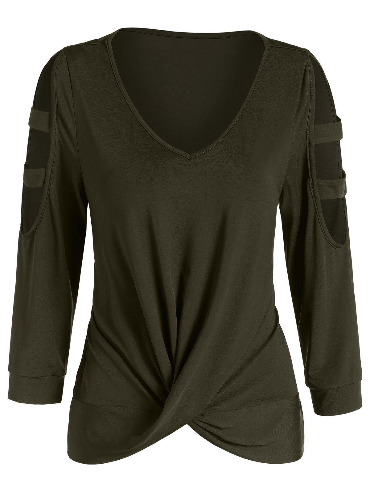 V Neck Cut Out Long Sleeve T Shirt - ARMY GREEN L