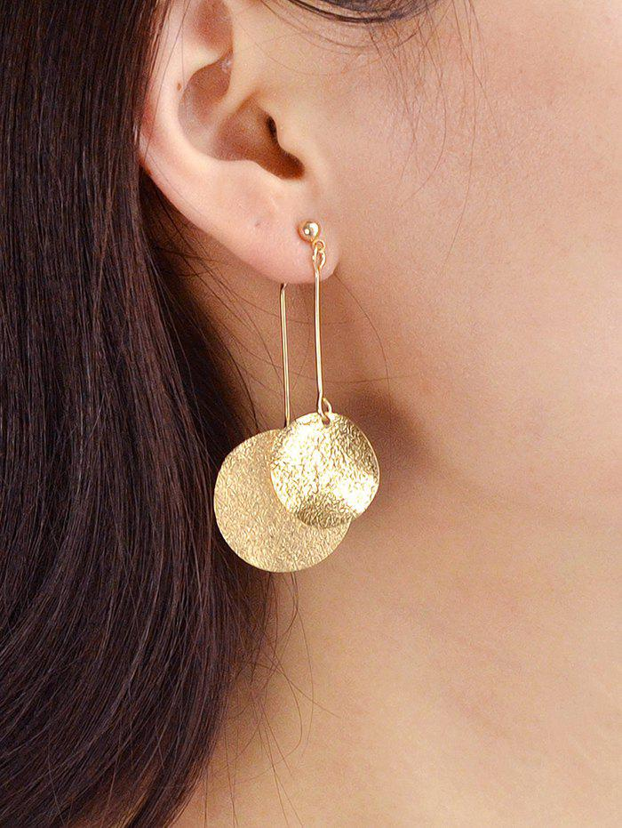 Round Disc Decoration Alloy Earrings - GOLD