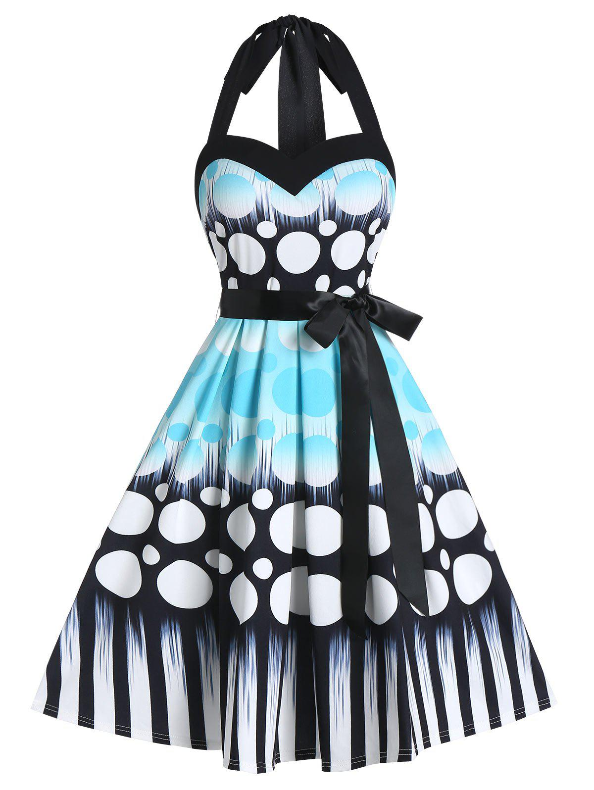 Halter A Line Polka Dot Dress with Belt - DAY SKY BLUE L