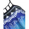 Plus Size Overlay Feather Print Tankini Swimsuit - multicolor A 3X