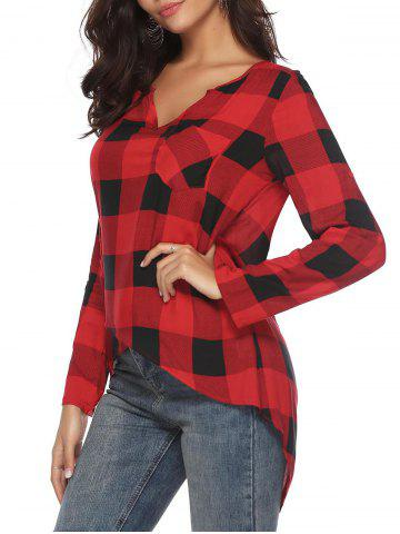 Roll Tab Sleeves Plaid High Low Blouse