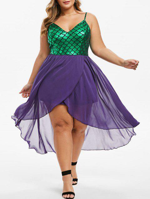 Mermaid Scales Overlap High Low Plus Size Dress - PURPLE 1X