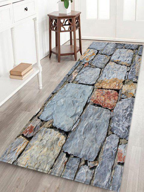 Stone Brick Wall Patterned Water Absorption Area Rug - LIGHT GRAY W24 X L71 INCH