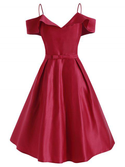 Cami Foldover Bowknot Party Dress - RED 2XL