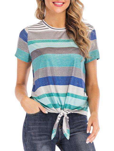 Multicolor Striped Knotted Tee - TURQUOISE XL