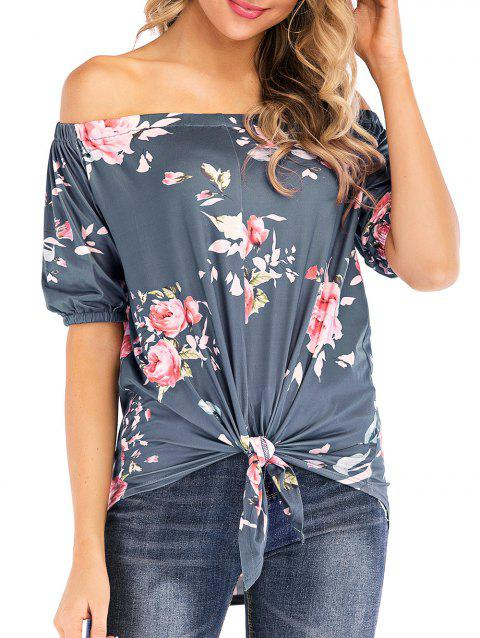 Off Shoulder Floral Print Knotted Tee - GRAY S