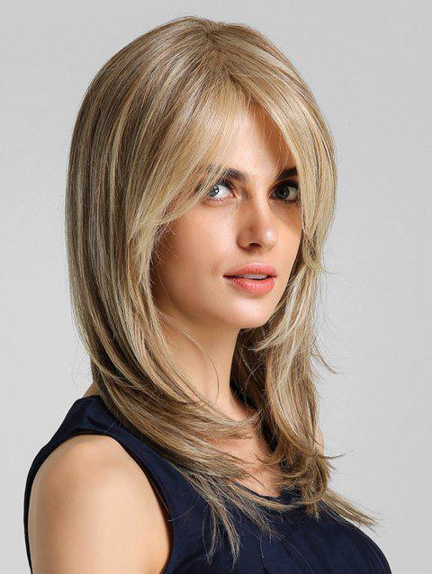 Side Bang Straight Natural Long Synthetic Wig - multicolor