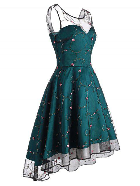 Floral Embroidered Lace Overlay High Low Party Dress - DARK GREEN L