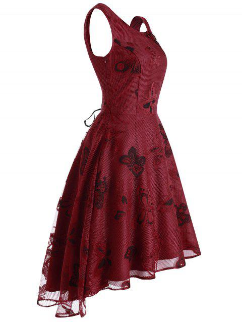 Butterfly Lace High Low Party Dress - RED WINE 2XL