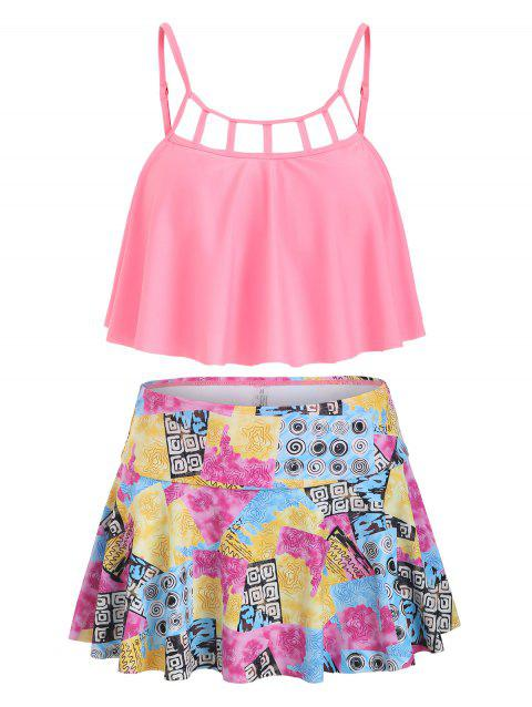 Cut Out Printed Skirted Tankini Swimsuit - HOT PINK 2XL
