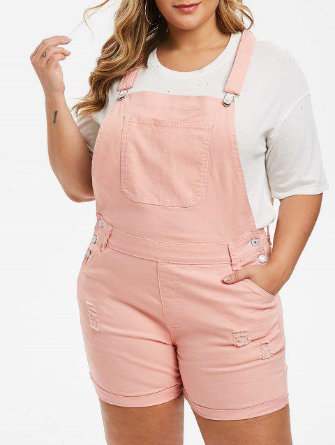 Cuffed Distressed Plus Size Denim Overall Shorts - ROSE 4X