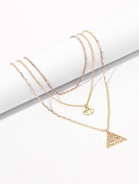 Multi-layer Hollowed Triangle Star Pendant Necklace - GOLD