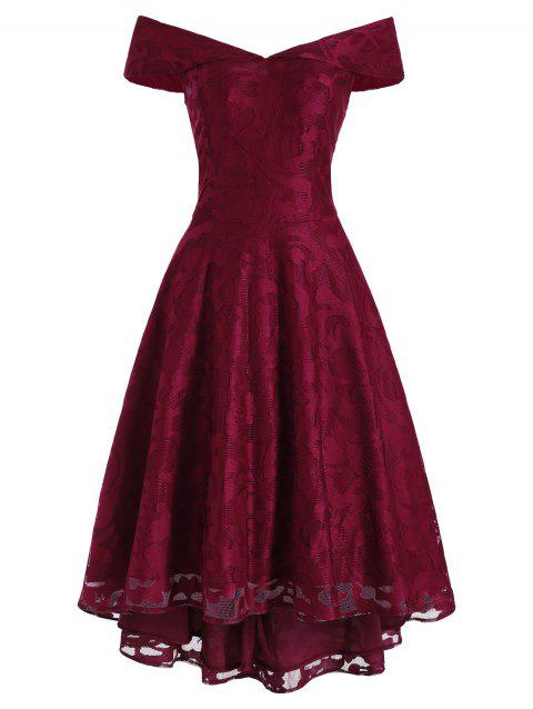 Off Shoulder Lace High Low Party Dress - RED WINE M
