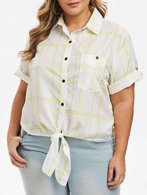 Knotted Plaid Front Pocket Plus Size Shirt - WHITE 3X