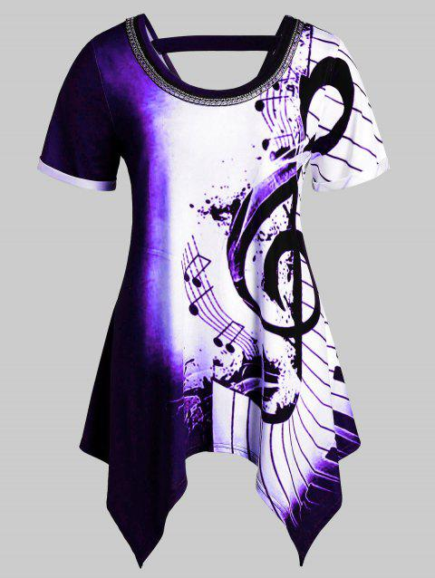 Plus Size Asymmetrical Musical Notes Print Chains Embellished Tee - multicolor E 1X