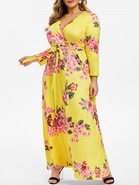 Floral Belted Surplice Plus Size Maxi Dress - YELLOW 5X