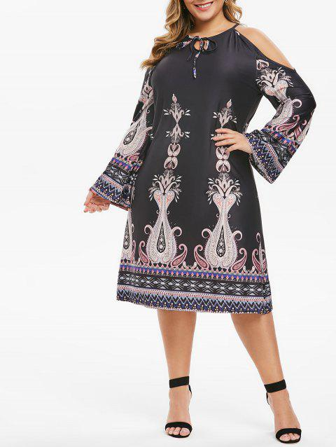 Plus Size Tribal Print Cold Shoulder Shift Dress - multicolor A 4X