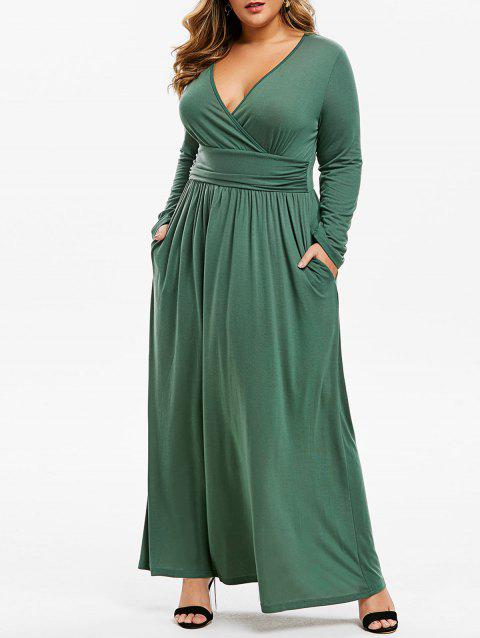Seam Pockets Ruched Surplice Plus Size Maxi Dress - GREEN 1X