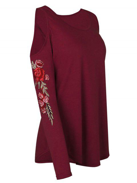 Plus Size Cold Shoulder Floral Embroidery Curved T Shirt - RED WINE L