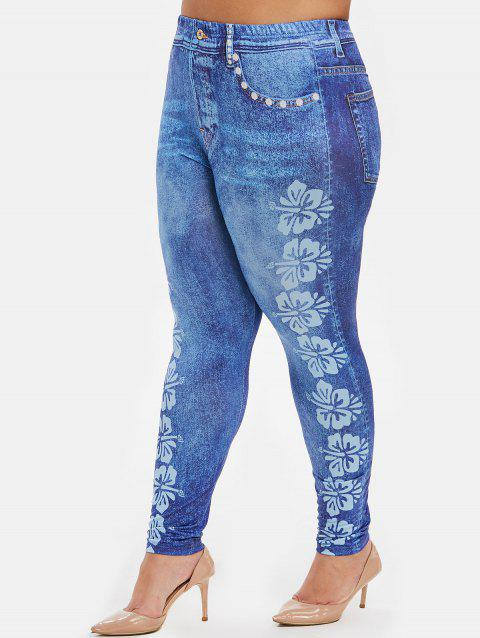Butterfly Print High Waisted Plus Size Jeggings - LIGHT SKY BLUE 1X
