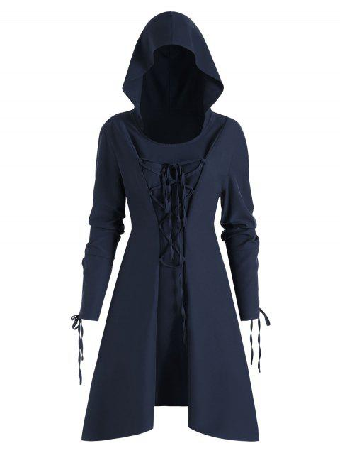 Lace Up Skirted Hooded Pullover Plus Size Coat - CADETBLUE 4X