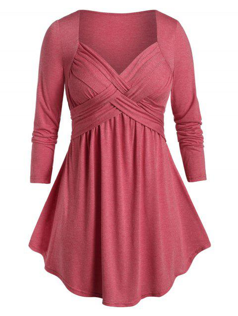 Plus Size Space Dye Tunic Flare T Shirt - CHESTNUT RED 2X