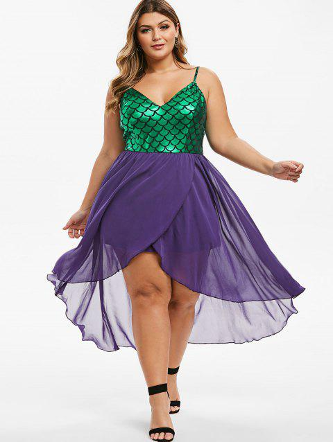 Mermaid Scales Overlap High Low Plus Size Dress