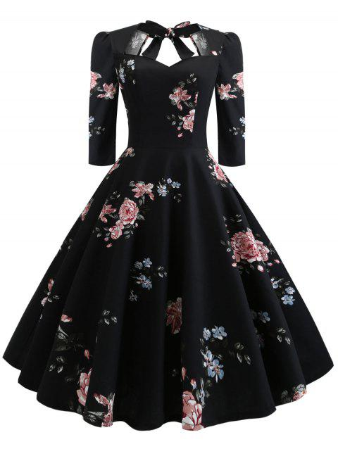 Plus Size Floral Print Back Tie Pin Up Dress