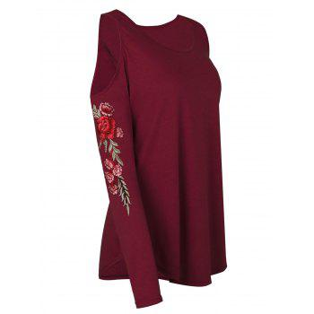 Plus Size Cold Shoulder Floral Embroidery Curved T Shirt