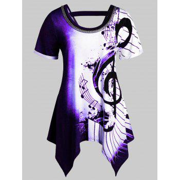 Plus Size Asymmetrical Musical Notes Print Chains Embellished Tee